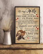 Wife Wall Art Canvas, Gift For Wife, To My Wife Once Upon A Time I Became Yours Owls Canvas, Gift For Anniversary - Spreadstores