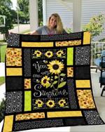 You Are My Sunshine Sunflower Fleece Blanket - Spreadstores