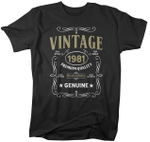Vintage 1981 Premium Quality Genuine, Birthday Shirt, Birthday Gifts Idea, Gift For Her For Him Unisex T-Shirt KM0804 - Spreadstores