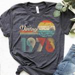 Vintage 1978 Birthday Gift Shirt V4, 43rd Birthday Vintage Shirt, Gift For Her For Him Unisex T-Shirt KM0904 - Spreadstores