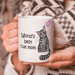 World's Best Cat Mom Mug With An Grey Tabby Cat Illustration - Crazy Cat Lady Mug - Spreadstores