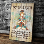 Yoga Canvas, Home Wall Art Decor, Birthday Gifts Idea, November Girl Yoga The Soul Of A Witch Portrait Canvas - Spreadstores