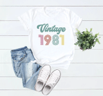 Vintage 1981 V5, 40th Birthday Gifts Idea, Gift For Her For Him Unisex T-Shirt KM0804 - Spreadstores