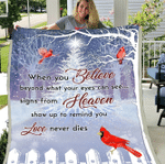 When You Believe Beyond What Your Eyes Can See Blanket, Love Never Dies Blanket, Red Cardinal Fleece Blanket - Spreadstores