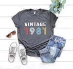 Vintage 1981, Birthday Shirt, Birthday Gifts Idea, Gift For Her For Him Unisex T-Shirt KM0804 - Spreadstores