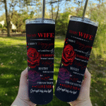 Wife Tumbler, To My Wife I Didn't Marry You So I Could Live With You Red Rose Skinny Tumbler, Gift For Wife - Spreadstores
