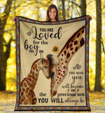 You Are Loved For The Boy You Are The Man Giraffe Fleece Blanket - Spreadstores