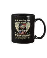 WWII Veterans Daughter Heart Heaven American Flag Gift Idea Mug - Spreadstores