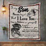 Veterans Son Blanket, To My Son Never Forget That I Love You Quilt Blanket - Spreadstores