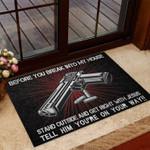 Veterans Welcome Rug, Before You Break Into My House Doormat, Veteran's Day Gifts, Indoor Furniture - Spreadstores