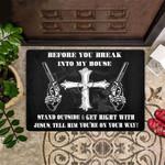 Veteran Welcome Rug, Veteran Doormat, Before You Break In To My House Christian Croos Doormat, Welcome Mat - Spreadstores