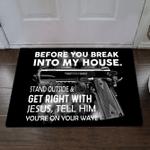Veteran Welcome Rug, Before You Break Into My House Doormat, Funny Outdoor With Saying Door Mat - Spreadstores