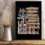 Veterans Poster In Memorial To Our Veterans 24x36 Poster - Spreadstores
