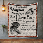 Veterans Blanket, To My Beautiful Daughter Never Forget That I Love You From Veteran Dad Quilt Blanket - Spreadstores