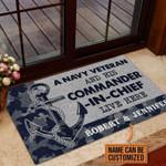 Veteran Welcome Rug, Welcome Mat, Custom Doormat, Personalized Navy Veteran Camo Couple Doormat - Spreadstores