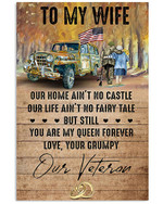 Veteran Wife Canvas, To My Wife Our Home Ain't No Castle Our Life Ain't No Fairy Tale Matte Canvas - Spreadstores