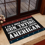 Veteran Welcome Rug, Veteran Doormat, I Am A Born Free Gun-Toting Constitution Loving American Doormat - Spreadstores