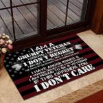 Veteran Welcome Rug, Veteran Doormat, Gift For Veterans, I Am A Grumpy Veteran I Don't Care Doormat - Spreadstores