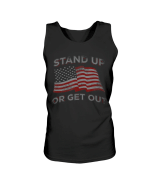 Veteran Shirt, USA Flag Stand Up Or Get Out Patriotic Veterans Tank - Spreadstores
