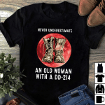 Veteran Shirt, Gift For Veterans, Never Underestimate An Old Woman With A DD-214 Blood Moon T-Shirt - Spreadstores