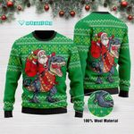 Funny Santa Tree Rex Merry Christmas Ugly Christmas Sweater Green Adult For Men & Women