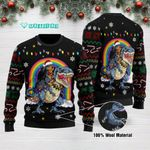 Dachshund Riding Dinosaur T rex  Funny Ugly Christmas Sweater Adult For Men & Women