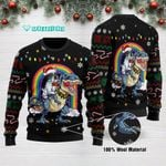 French Bulldog Dinosaur Riding T rex Funny Ugly Christmas Sweater Adult For Men & Women