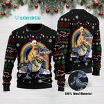 Golden Retriever Dinosaur  RidingT rex Funny Ugly Christmas Sweater Adult For Men & Women