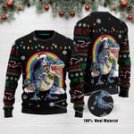 Boston Terrier Riding Dinosaure T Rex Funny Ugly Christmas Sweater Adult For Men & Women