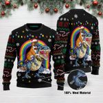 Boxer Riding Dinosaure T Rex Funny Ugly Christmas Sweater Adult For Men & Women