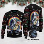 Husky Riding Dinosaure T Rex Funny Ugly Christmas Sweater Adult For Men & Women