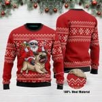 Santa Riding Pug Funny Ugly Christmas Sweater Adult For Men & Women