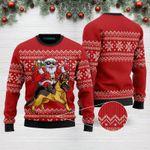 Santa Riding German Shepherd Funny Ugly Christmas Sweater Adult For Men & Women