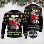 Quarantined  Christmas Santa Tree Rex 2020 Funny Ugly Christmas Sweater Black Adult For Men & Women