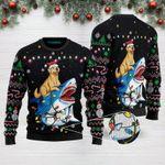 Shark Golden Retriever Christmas Funny Ugly Christmas Sweater Adult For Men & Women