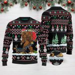 Bigfoot Dachshund Merry Christmas Funny Ugly Christmas Sweater Black Adult For Men & Women