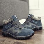 Men's and Women's Winter Thermal Velvet Velcro Buckle Trendy Joker Hiking Sneakers