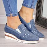 Women Shining Casual Slip-on Sneaker Shoes