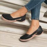 Women Wedges Orthopedic Hollow Out PU Summer Vintage Sandals