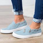 Women's Zipper Denim Canvas Shoes