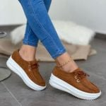 Women's Wedge Lace Up Round Toe Comfortable Shoes