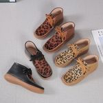 Women's Leopard Print Round Toe Flat Comfort Boots