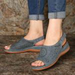 Women Peep Toe Pattern Hook Loop Casual Wedges Sandals