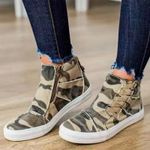 Casual high-top canvas zipper elastic lace-up flat sneakers