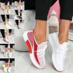 WOMEN LACE UP MESH KNIT TRAINERS SPORT SNEAKERS