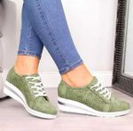 WOMEN BREATHABLE MESH LACE-UP CASUAL SHOES