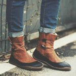 New Women's Round Toe Vintage Flat Ankle Boots
