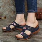 Flower Embroidered Vintage Premium Orthopedic Open Toe Sandals