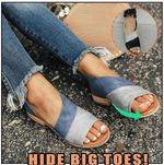 Women Daily Low Heel Retro Panel Sandals Shoes for Bunions Side Open Toe Sandals