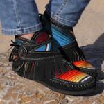 Colorful Striped Fringe Flat Boots